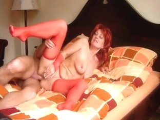 Older redhead floozy takes rod in the butt