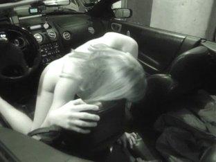 Hotty rubbing pussy on car handbrake