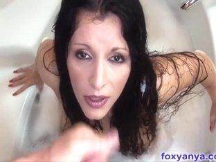 Breasty foxy anya screwed for cum facial in washroom