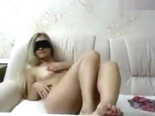 Blonde Candy_Eva_ on a white sofa