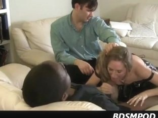 hubby assists housewife eating a heavy darksome wang