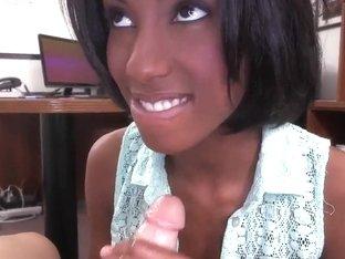 Black girl Adriana Malao does some nice handjob to her man