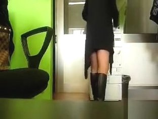 Our new secretary in a short dress is not wearing any panties