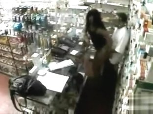 Naughty female customer pays with her lovely pussy