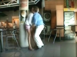 Husband fingers his lovely wife in public