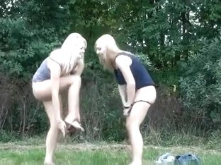 Czech shaved blondes pee in the grass