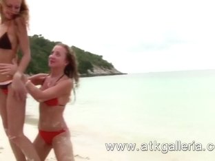 Sexy, and blonde lesbians Lory and Lilian fuck