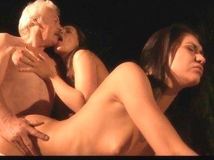 Lucky grandpa fucks two sexy beauties