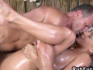 Masseur licks and fucks oiled babe