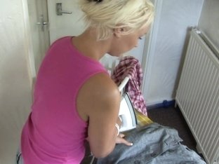 Busty blonde slut in a great free down blouse video
