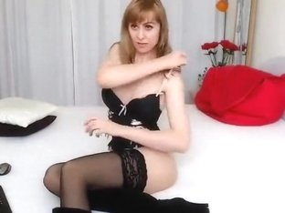 Webcam model BrillantBlond in black lingerie and nylon stockings