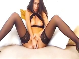 Tall and leggy bombshell in sexy stockings is spreading her legs for me