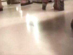 Hidden camera films delightful Russian booties up skirts.
