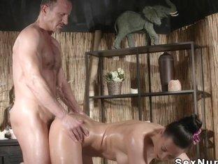 Big tits and booty Milf fucks masseur