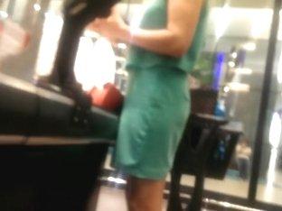 turkish sexy blonde in green skirt