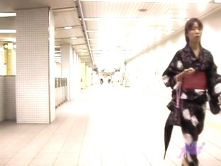 Japanese sharking video with suave gal in a kimono