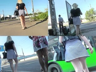 Blonde's bubble butt looks sexy in upskirt video