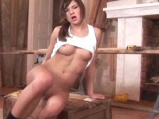 A real beautiful worker tittie-fucks herself