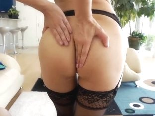 Asian with pretty coconuts and working mouth sucks a big dig
