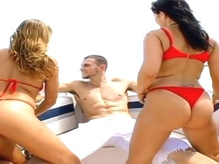 Britney Stevens and Lexi Love get a hard cock at the sea