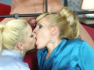 Blonde piss ###ing duo share a dick