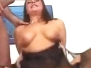 Horny mom in a hot threesome with two big penises