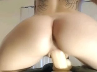 Homemade sextape with me riding a massive sex toy