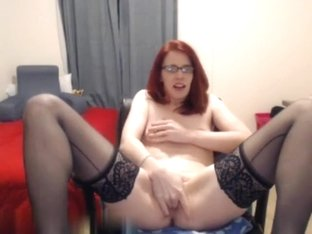 Red haired horny nerdy babe