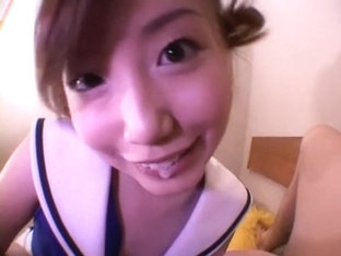 Asian cheerleader gets a mouthful