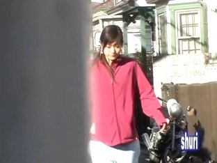 Inexperienced oriental babe minding her own business during sharking affair