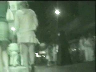 Nighttime voyeur upskirt video of unsuspecting girls
