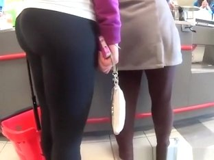 Girl in black leggings with nice ass