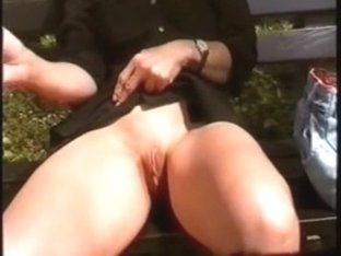 flashing in the park on the bench