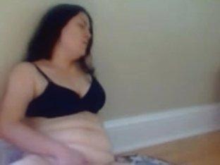Risky masturbating in the living room.
