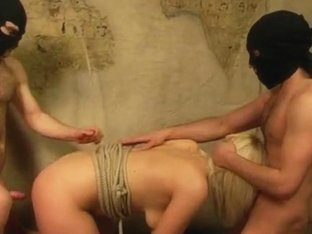 Curvaceous blonde in hot BDSM threesome