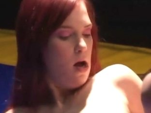 Redhead babe hardcore fucked all holes on boxing ring