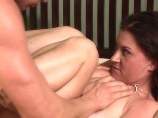 Long tongue licks the cunt of a brunette with big tits