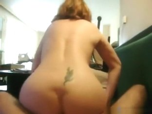 Nerdy girl with glasses tries anal sex on the sofa