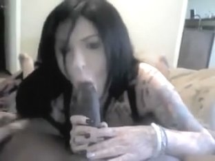 Slutty tattooed college coed cutie engulfing darksome ding-dong of her ally