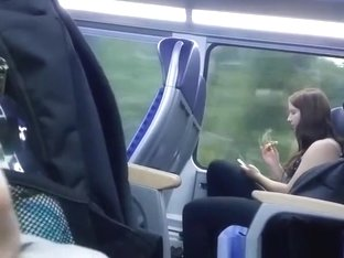 Dude plays with his cock in public transportation