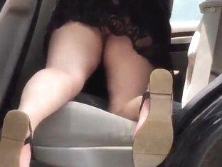Car wash babe black dress Upskirt!!!