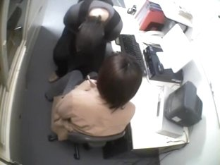 Slobbering on a dong in kinky voyeur office sex video
