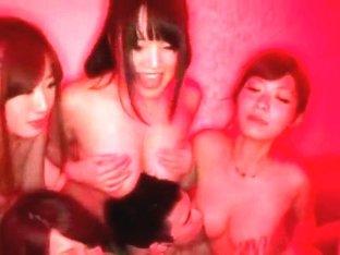 Horny Japanese slut Yu Anzu, Saki Hatsumi in Incredible Gangbang JAV scene