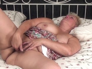 Old big beautiful woman is willing to please herself