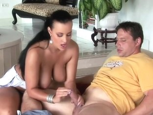 Breasty pornstar Carmen Croft teasing knob