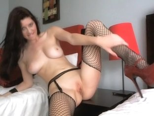 Showing off in a fishnet outfit