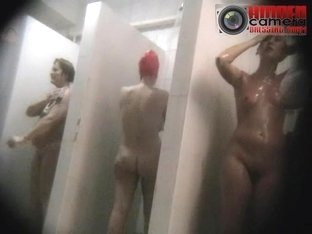 Several hot MILFs showing their goods on a spy shower cam