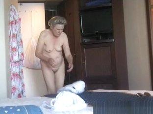 Granny caught dressing in bedroom