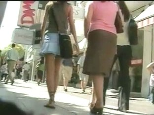 Teen up skirt video featuring a long legged teen in a mini skirt