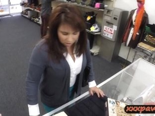 Desperate busty wife pawning some stuff n her pussy for cash